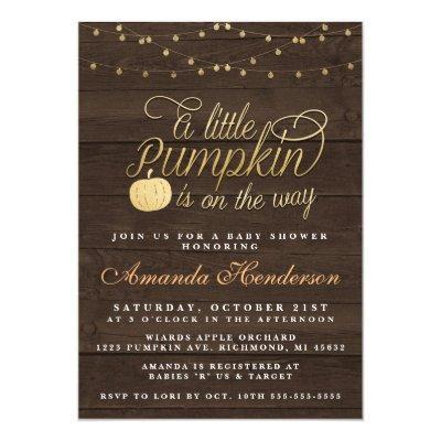 Rustic Fall Pumpkin Baby Shower Invitation