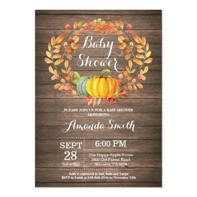 Rustic Fall Pumpkin Baby Shower Invitation Card