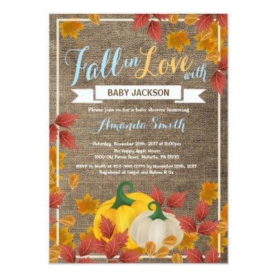 Rustic Fall Pumpkin Boy Baby Shower invitation