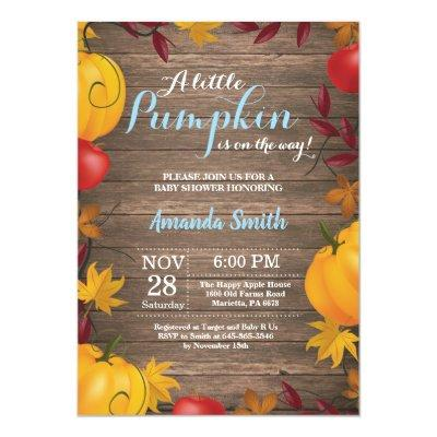 Rustic Fall Pumpkin Boy Baby Shower invitation