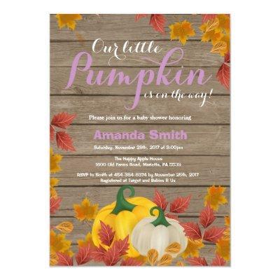 Rustic Fall Pumpkin Girl Baby Shower Invitations