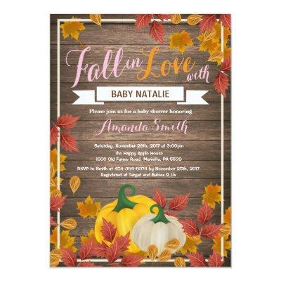 Rustic Fall Pumpkin Girl Baby Shower invitation