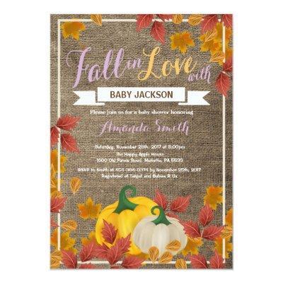 Rustic Fall Pumpkin Girl Baby Shower invitation