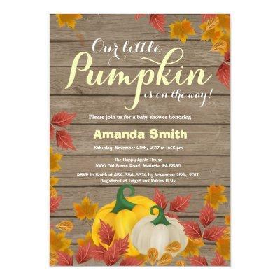 Rustic Fall Pumpkin Yellow Baby Shower invitation