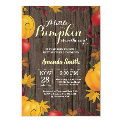 Rustic Fall Pumpkin Yellow Baby Shower Invitations