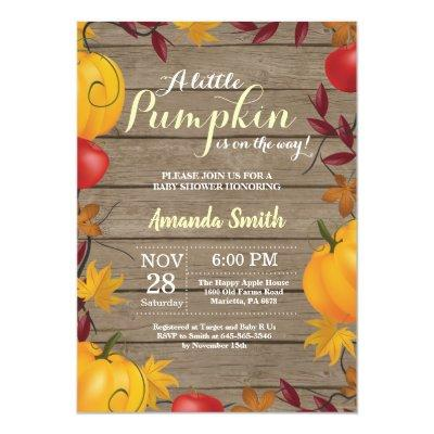 Rustic Fall Pumpkin Yellow Baby Shower invitation
