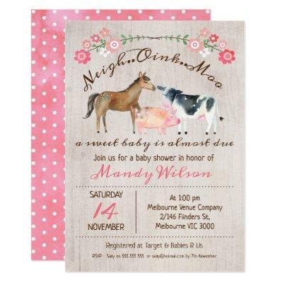 Rustic Farm Animals Girls Baby Shower Invitation