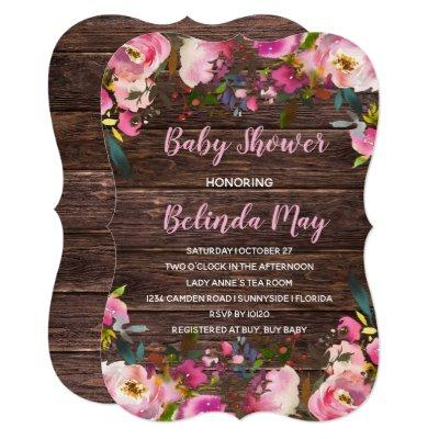 Rustic Floral Baby Shower Invitation