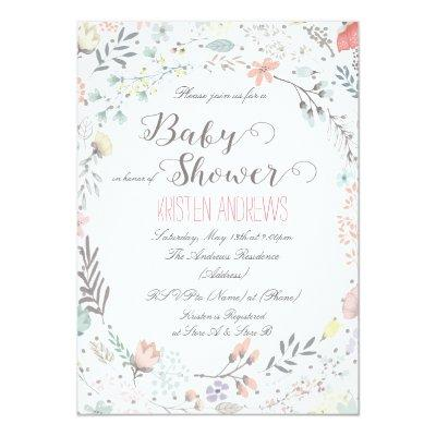 Rustic Floral Baby Shower Invitations II