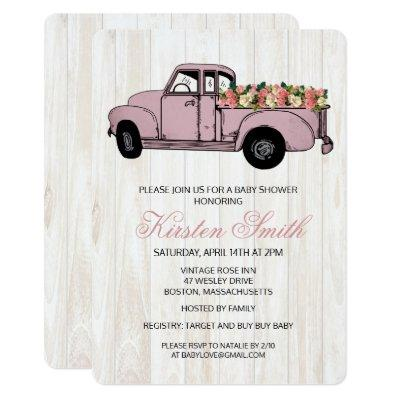 Rustic Floral Baby Shower Truck Invitation