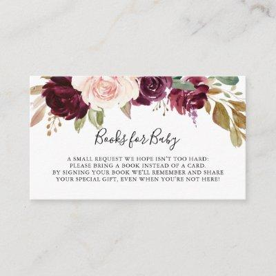 Rustic Floral Botanical Baby Shower Book Request Enclosure Card