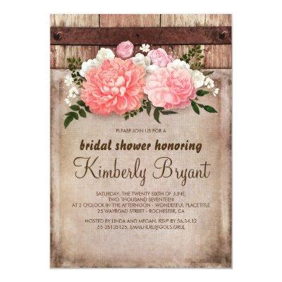 Rustic Floral Burlap Barn Wood Bridal Shower Invitations