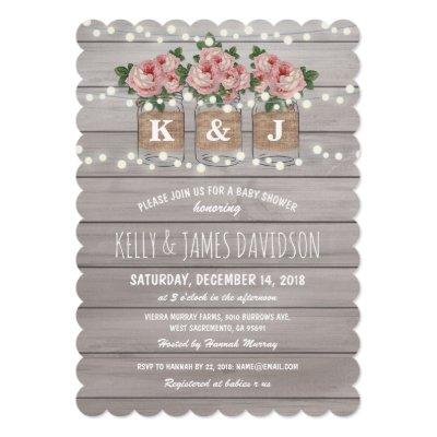 Rustic Floral Couple Baby Shower Invitations