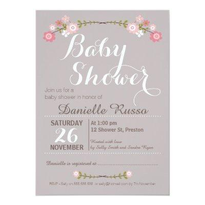 Rustic Floral Girls Baby Shower Invitations
