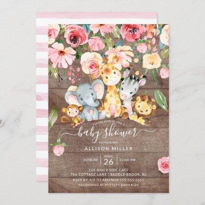 Rustic Floral Girls Safari Animals Baby Shower Invitation