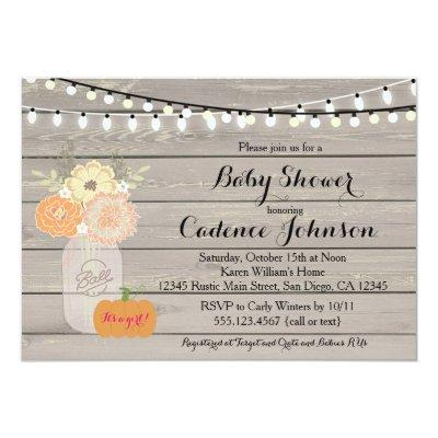 Rustic Floral Orange Pink Girl Invite