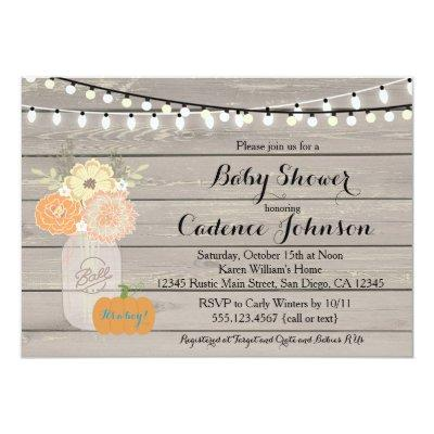 Rustic Floral Orange Yellow Boy Invite