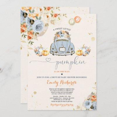 Rustic Floral Pumpkin Drive By Baby Shower Invitation