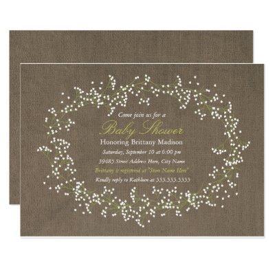 Rustic Floral Wreath & Burlap Baby Shower Invite