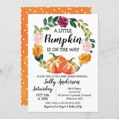 Rustic Floral Wreath Little Pumpkin Baby Shower Invitation