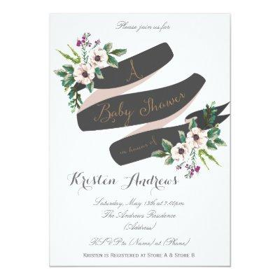 Rustic Flowers white Invitations
