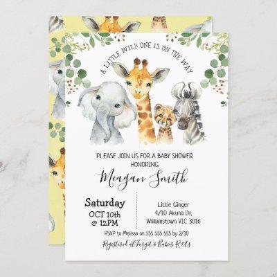 Rustic Foliage Safari Animals Baby Shower Invitation