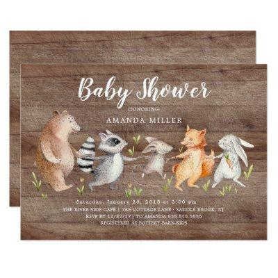 Rustic Forest Friends Baby Shower Invitation