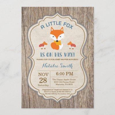 Rustic Fox Baby Shower Invitation Boy