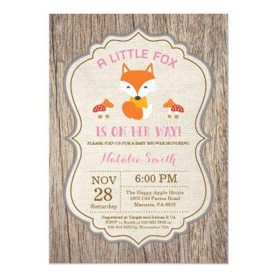 Rustic Fox Baby Shower Invitation Girl