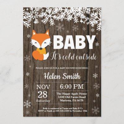 Rustic Fox Winter Baby Shower Invitation