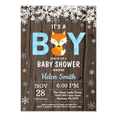 Rustic Fox Winter Boy Baby Shower Invitation
