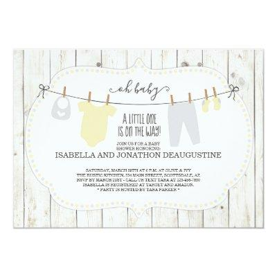 Rustic Gender Neutral Baby Shower Invitations