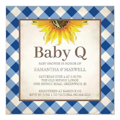 Rustic Gingham Checker Baby Shower Invitation