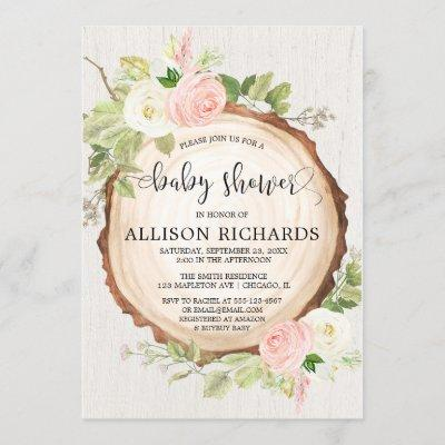 Rustic girl baby shower, blush pink cream floral invitation