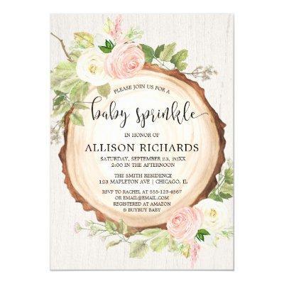 Rustic girl baby sprinkle, blush pink cream floral invitation