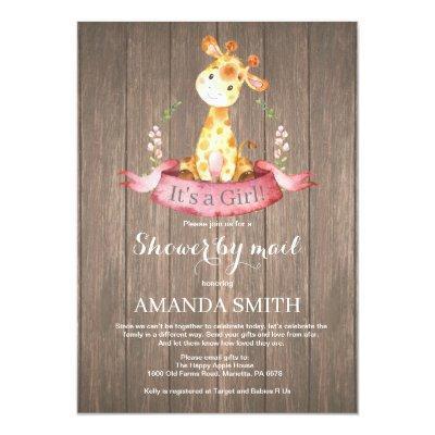 Rustic Girl Giraffe Baby Shower by Mail Invitation