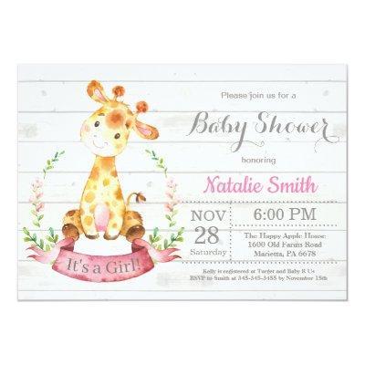 Rustic Girl Giraffe Baby Shower Invitation