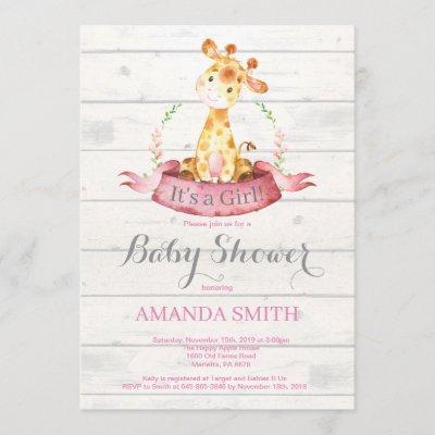 Rustic Girl Giraffe Baby Shower Invitation Pink