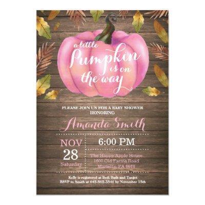 Rustic Girl Pumpkin Fall Baby Shower Invitation