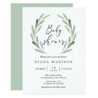 Rustic Green Olive Branch Wreath Baby Shower Invitations