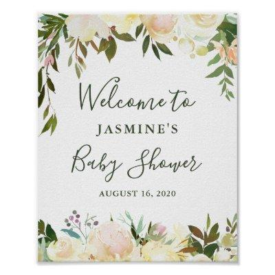 Rustic Greenery Floral Baby Shower Welcome Sign