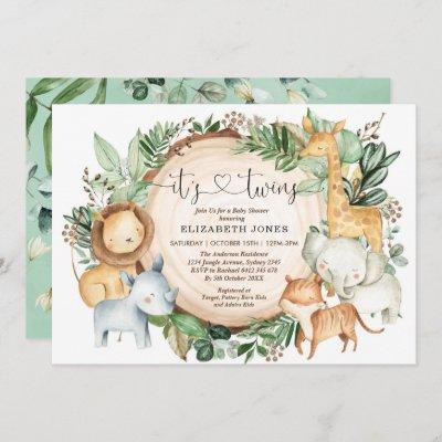Rustic Greenery Jungle Safari Twins Baby Shower Invitation