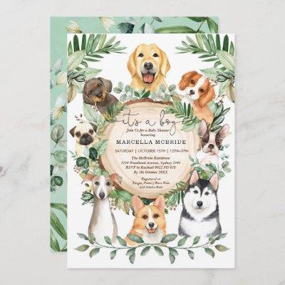 Rustic Greenery Puppy Dogs Boy Baby Shower Invitation