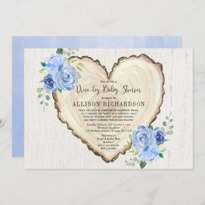 Rustic heart drive-by boy baby shower blue floral invitation