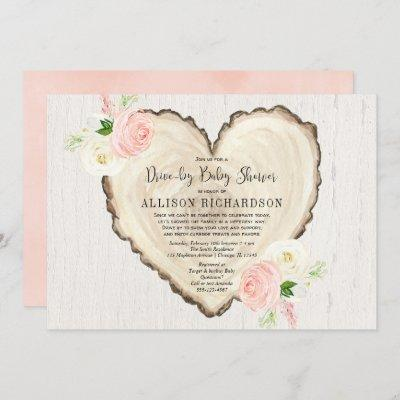 Rustic heart drive-by girl baby shower blush pink invitation