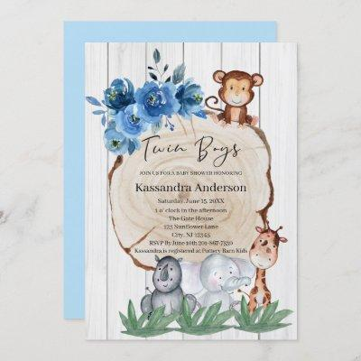 Rustic Jungle Animal Blue Floral Twins Baby Shower Invitation