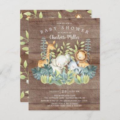 Rustic Jungle Animals Neutral Baby Shower Invitation