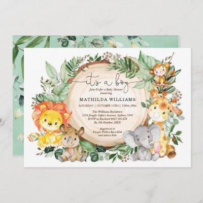 Rustic Jungle Greenery Wild Animals Baby Shower Invitation