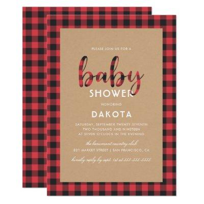 Rustic Kraft & Buffalo Plaid Script Baby Shower Invitation