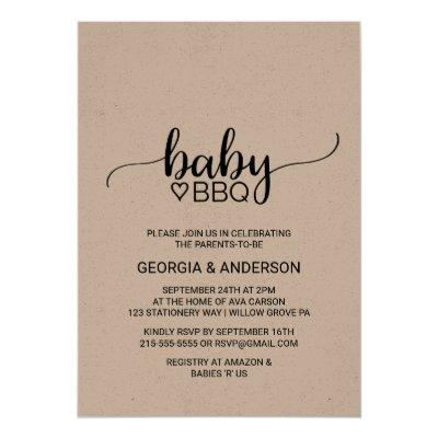Rustic Kraft Calligraphy Baby BBQ Invitations